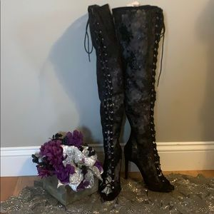 NWOT Sexy Sheer Lace Over The Knee Boots